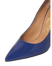 Ferragamo - Blue 100mm Susie Glass Patent Leather Pumps - Lyst