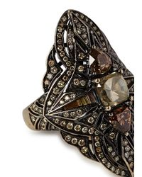 Bochic | Black Diamond Rhodium-plated 18kt Gold Ring | Lyst