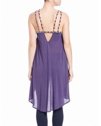 Free People | Purple Embroidered Hi-lo Tank | Lyst