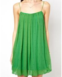 Traffic People | Green Anchors and Stripes Silk Shift Dress | Lyst