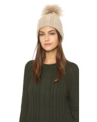 Inverni - Natural Cashmere Ribbed Pom Beanie Hat - Black - Lyst
