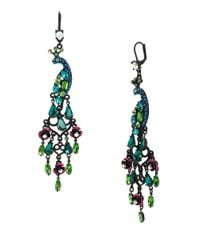 Betsey Johnson | Multicolor Peacock Chandelier Drop Earrings | Lyst