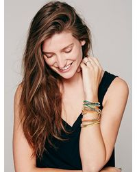 Free People - Blue Cord And Metal Bead Wrap - Lyst