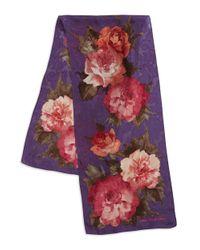 Lauren by Ralph Lauren | Purple Printed Silk Scarf | Lyst