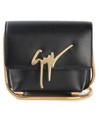 Giuseppe Zanotti | Black Logo Plaque Calf-Leather Shoulder Bag | Lyst