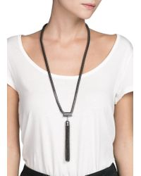 Mango | Black Tassel Pendant Necklace | Lyst