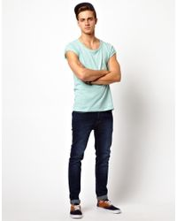 ASOS | Blue Tshirt with Scoop Neck and Roll Sleeve for Men | Lyst