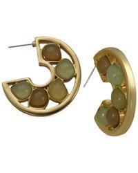 T Tahari   Metallic Multicolor C Hoop Earrings   Lyst