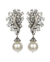 Ben-Amun | White Deco Pearl Drop Earrings | Lyst