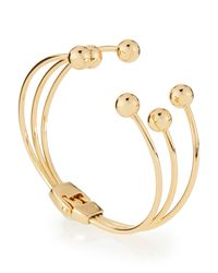 Lydell NYC | Metallic Golden Triple-row Hinged Ball Cuff Bracelet | Lyst