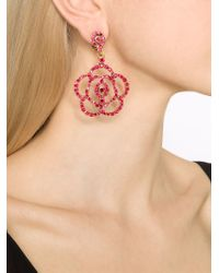 Oscar de la Renta | Red Pavé Flower Clip-on Earrings | Lyst