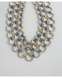 Gurhan | Metallic Silver and Gold Hoopla Linked Hoop Multistrand Necklace | Lyst