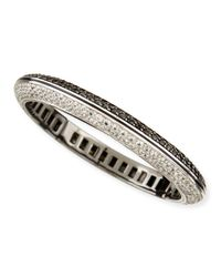 M.c.l  Matthew Campbell Laurenza | Metallic Pave White Zircon & Black Spinel Bangle Bracelet | Lyst