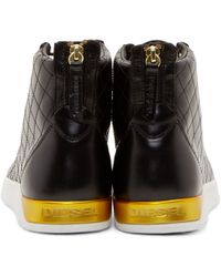 DIESEL - Black Leather Diamond Sneakers for Men - Lyst