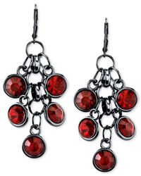2028 | Red Black-tone Crystal Cluster Drop Earrings | Lyst