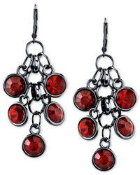 2028 - Red Black-tone Crystal Cluster Drop Earrings - Lyst