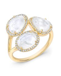 Anne Sisteron - 14kt Yellow Gold Moonstone Diamond Trinity Ring - Lyst