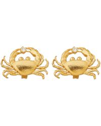 Alex Monroe | Metallic Gold-plated Diamond Crab Earrings | Lyst