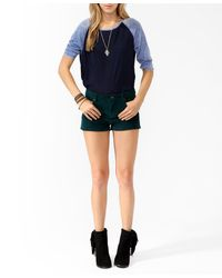Forever 21 - Green High-Rise Corduroy Shorts - Lyst