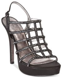 Adrianna Papell | Black Maya Evening Embellished Platform Sandals | Lyst