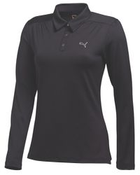 PUMA - Black Long Sleeve Polo - Lyst