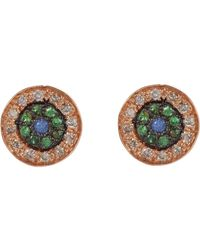 Ileana Makri - Metallic Multi Gemstone & Pink Gold no Tears Studs - Lyst