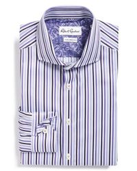 Robert Graham | Purple 'donato' Tailored Fit Stripe Dress Shirt for Men | Lyst