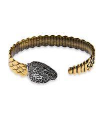 Platadepalo - Metallic Bronze Zircon & Silver Snake Head Bracelet - Lyst