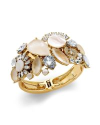 Kate Spade | Metallic New York Goldtone Crystal and Motherofpearl Bangle Bracelet | Lyst