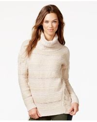 Kensie | Natural Fringed Multi-yarn Turtleneck Sweater | Lyst