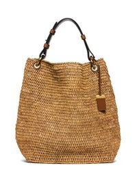 Michael Kors | Brown 'large Santorini' Raffia Shoulder Bag | Lyst