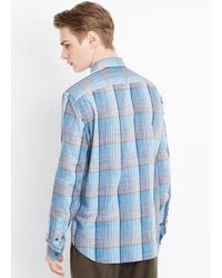 Vince - Blue Melrose Space Dyed Plaid Button Up for Men - Lyst