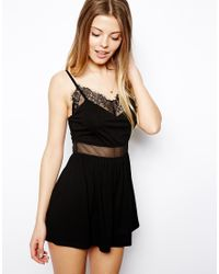 ASOS | Black Cami Playsuit With Lace Trim | Lyst
