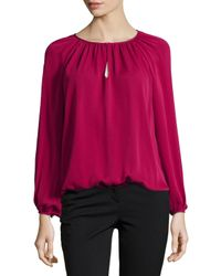 Diane von Furstenberg | Purple Hathaway Long-sleeve Silk Blouse | Lyst