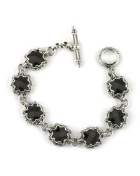 Konstantino | Black Silver Link Bracelet W/ 7 Square Onyx Stations | Lyst