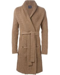 Laneus - Brown Knit Robe Coat - Lyst