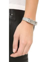 Tory Burch - Black For Fitbit Leather Bracelet - Tory Silver - Lyst