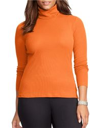 Lauren by Ralph Lauren | Orange Plus Ribbed Cotton Turtleneck Top | Lyst