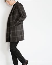 Zara | Gray Check Cloth Coat for Men | Lyst