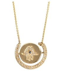 Sydney Evan - Metallic Diamond And Sapphire 'hamsa' Turn Charm Necklace - Lyst
