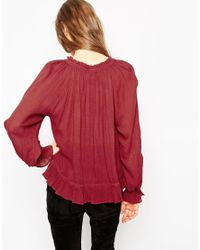 ASOS | Red Ruffle Blouse | Lyst