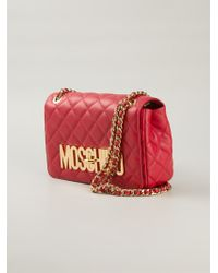 Moschino | Red Logo-Detail Quilted-Leather Shoulder Bag | Lyst