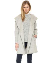 Vince - Gray Hooded Coat Coastal - Lyst