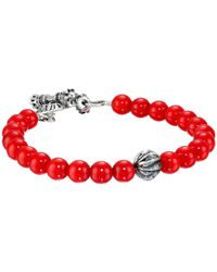 King Baby Studio - 8mm Red Coral Bracelet With Silver Feather Bead - Lyst