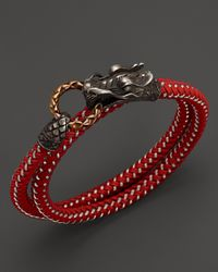 John Hardy | Red Men's Naga Double Wrap Dragon Cord Bracelet for Men | Lyst