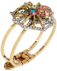 Betsey Johnson | Metallic Gold-tone Crystal Spider Bangle Bracelet | Lyst