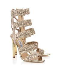 Jimmy Choo - Metallic Lima 110 Marble Suede And Light Champagne Mirror Leather Caged Sandals - Lyst