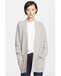 Theory | Gray 'marienala' Ribbed Wool & Cashmere Cardigan | Lyst