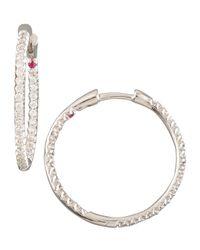 Roberto Coin   Metallic Diamond Hoop Earrings   Lyst
