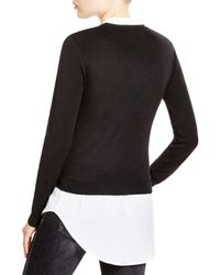 Aqua - Black Faux-layered Sweater - Lyst